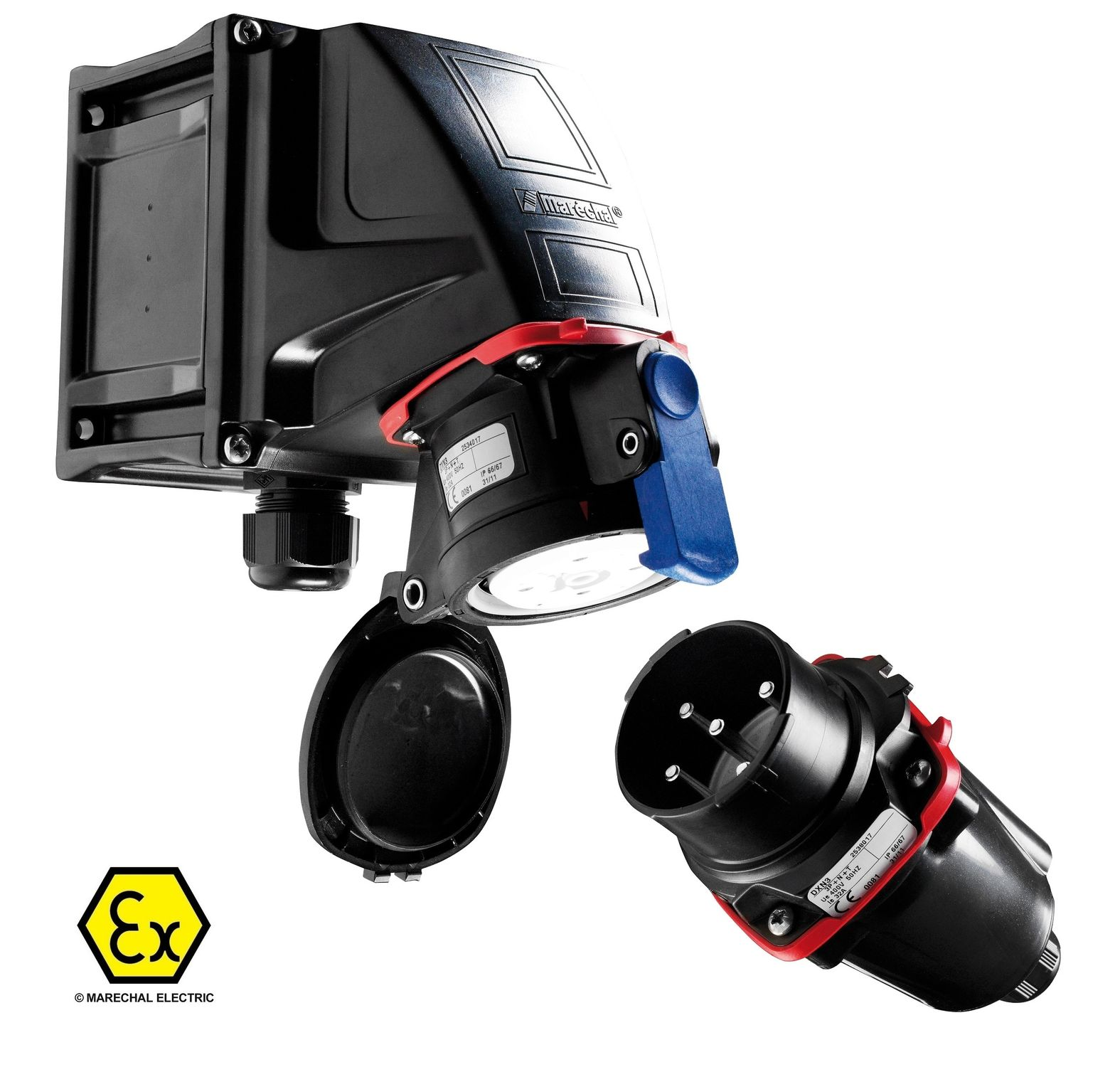 ATEX Plugs & Sockets : Marechal DXN1 20Amp Plug & Sockets for Hazardous Area Zone 1 & 2