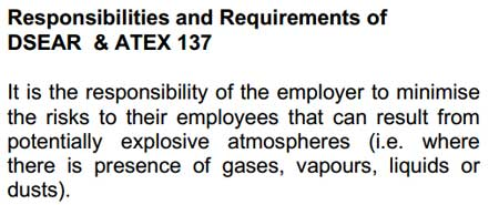 DSEAR ATEX 137 Hazardous Areas