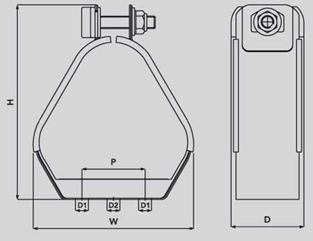 Ellis Patents VRQ Vulcan Quadrafoil Cable Cleats (Quad) - Dimensions Ilustrations