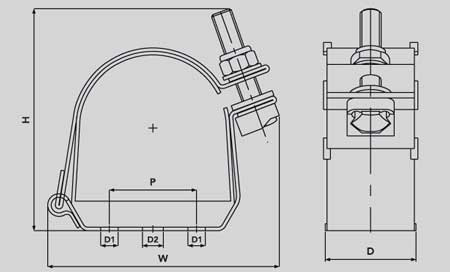 Ellis Patents ES58-66 Emperor Single Cable Cleat - Dimensions Illustration
