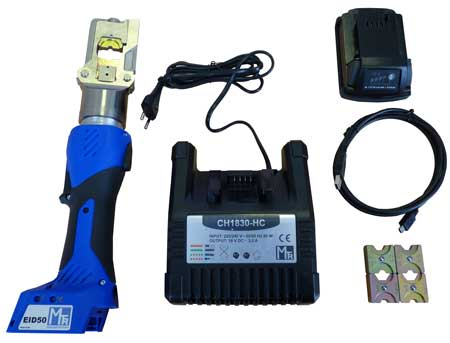 The EID50 is supplied as a kit and includes a battery and charger in addition to the crimping tool