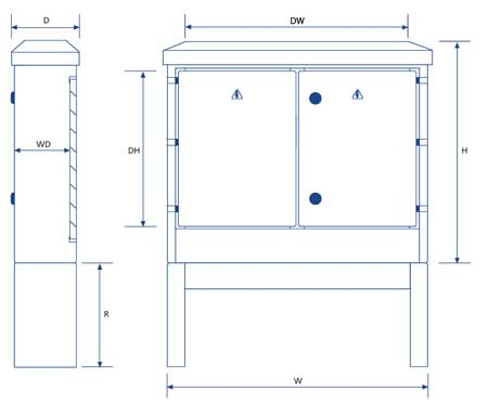 Lucy Lighting Fortress Feeder Pillars - Double Door Pillars - Dimensions Illustration