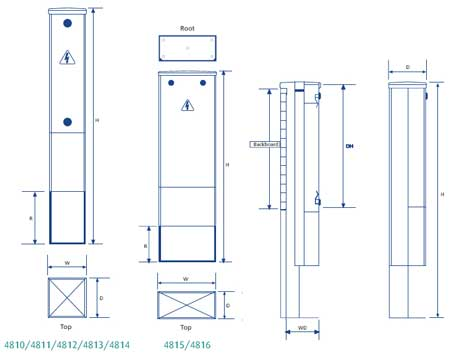Lucy Lighting Fortress Feeder Pillars - Mini Feeder Pillars - Dimensions Illustration