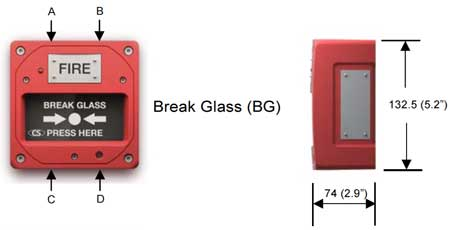 Clifford & Snell - Manual Call Point, Hazardous Area (ATEX) - Yodalex MCP - Break Glass Dimensions Illustration