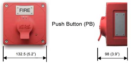 Clifford & Snell - Manual Call Point, Hazardous Area (ATEX) - Yodalex MCP - Push Button Dimensions Illustration