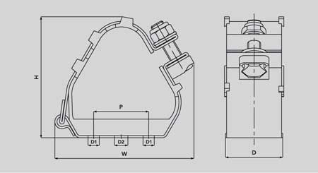 Ellis Patents ER23-28 Emperor Trefoil Stainless Steel Cable Cleat - Dimensions Illustration