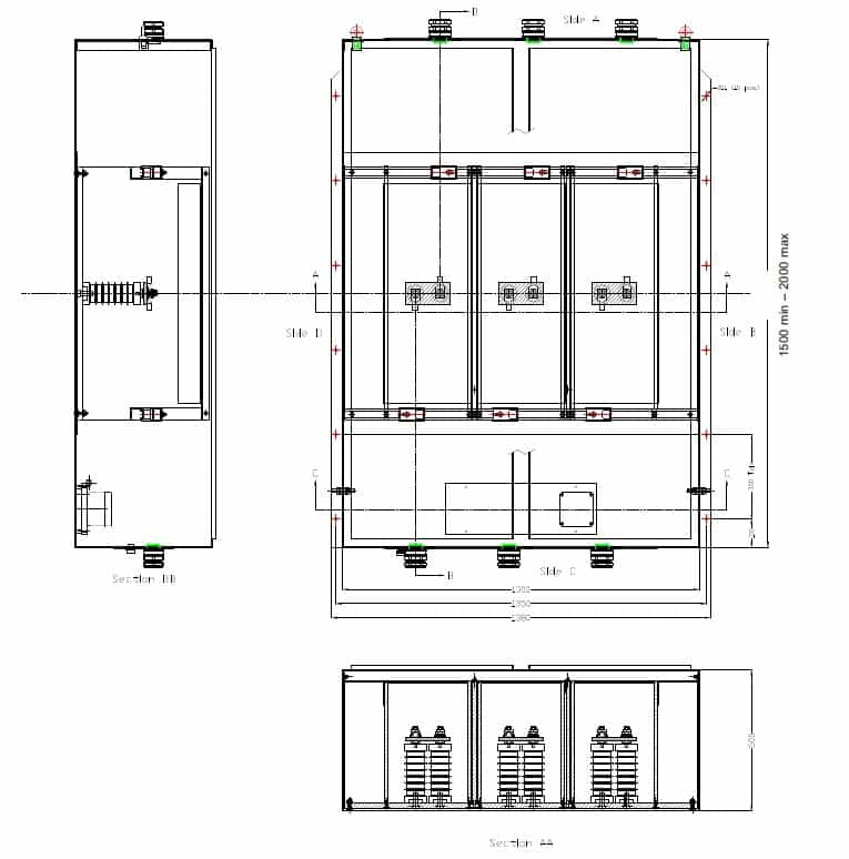 Abtech TFJB General Arrangement HV Enclosure Drawing