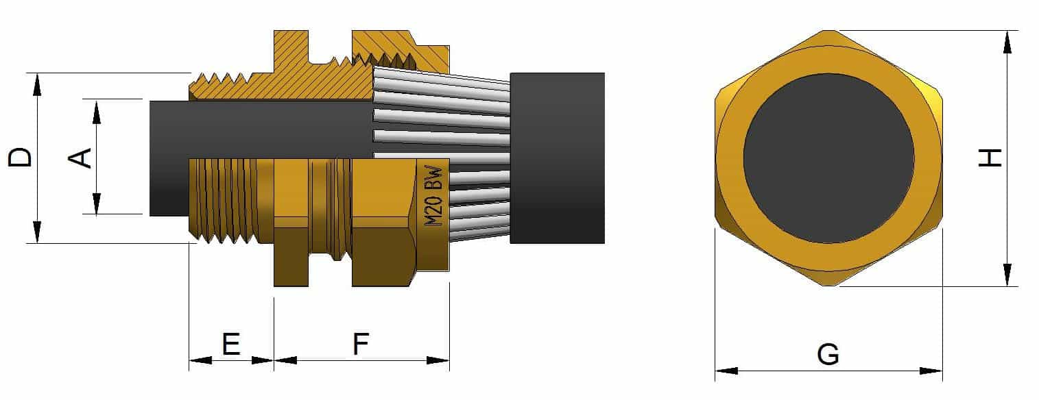 BW Brass Cable Glands - Dimensions