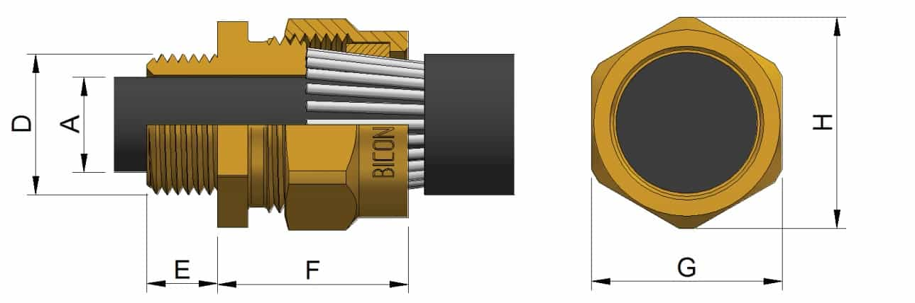 BW LSF Brass Cable Glands - Dimensions