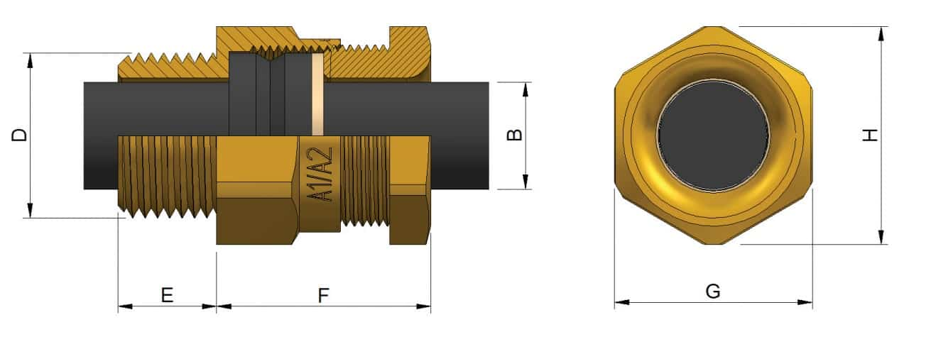 A2 LSF Brass Cable Glands - Dimensions