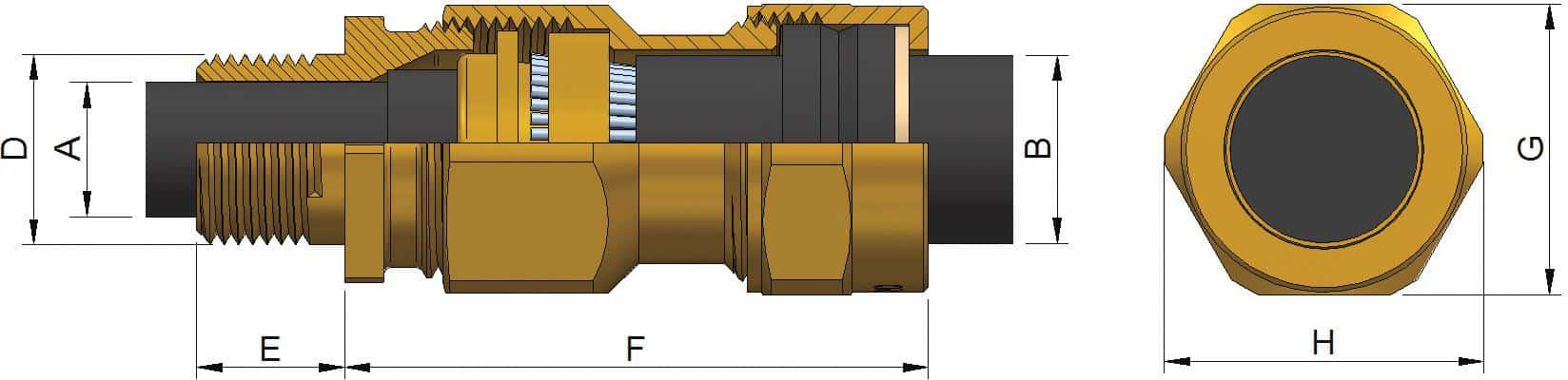 E1W Brass Cable Glands - Dimensions
